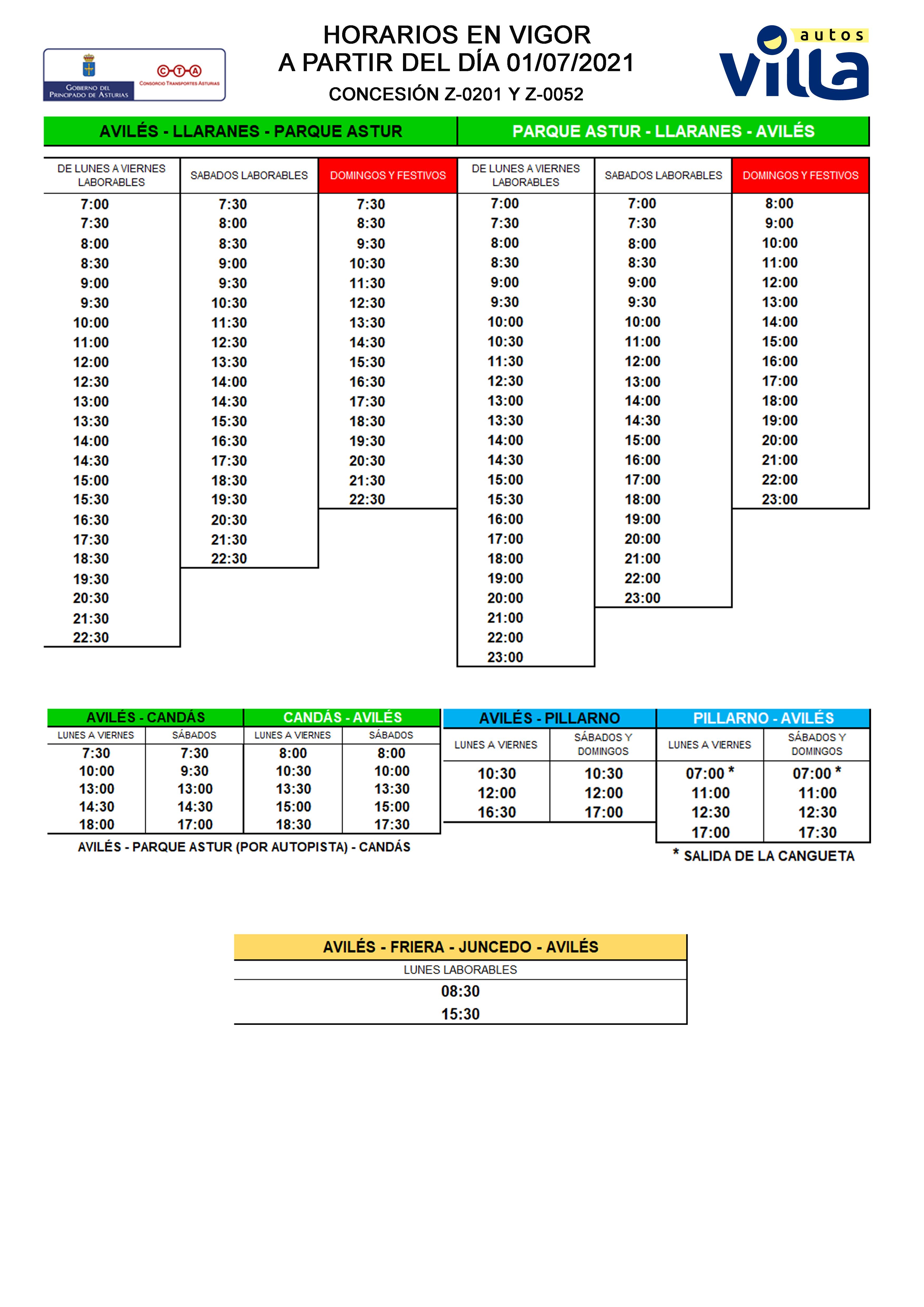HORARIOS Z0201 Z0052 VILLA 01072021