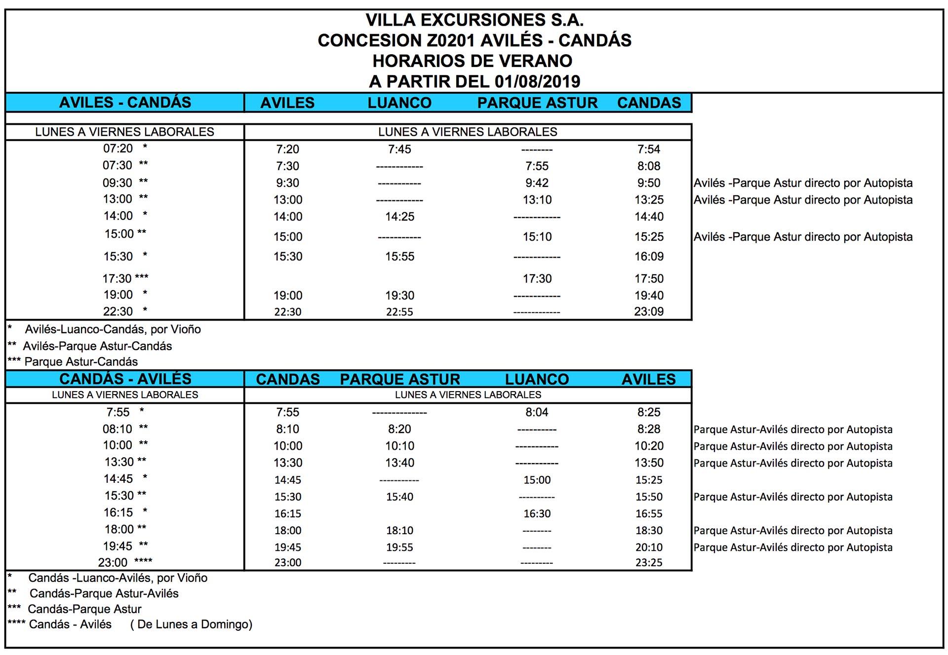 Autos Villa - horarios aviles-candas